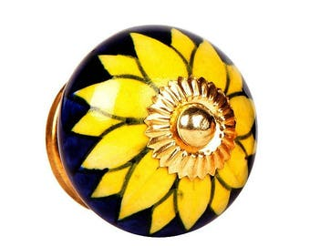Ceramic Cabinet Knob with Big Yellow Flower