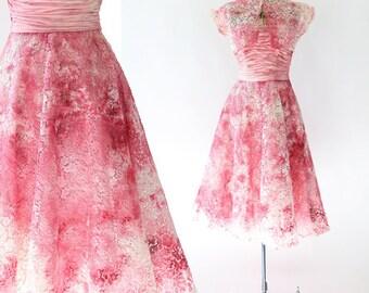 Vintage 50s pink floral lace watercolor wedding dress S