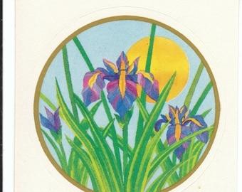 SALE Vintage Rare Illuminations Violet Iris Sticker - 80's