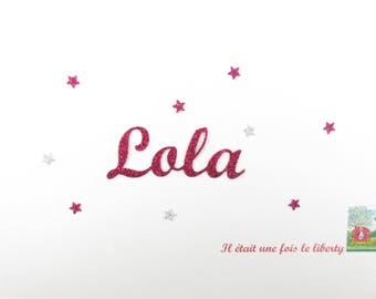 Applied fusible customizable glitter name of 4 letters (Lola, example) glitter fabric (colors)