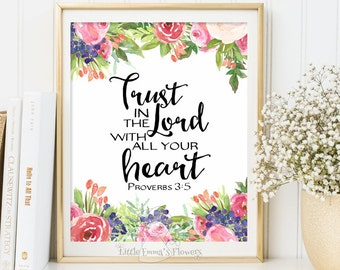 Instant download Proverbs 3 5 Trust in the Lord print Scripture art Nursery decor Bible verse decor home decor nursery verse wall art 3-2