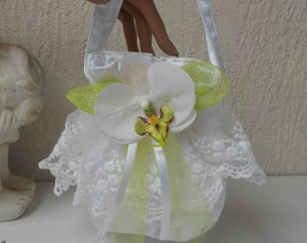 Purse - bag for bridal white and lime green