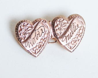 1940s Heart Brooch Engraved Robie and Millie Vintage Sweetheart Gold Plated