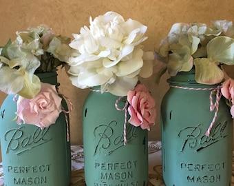 set of 3 Distressed Mason Jars..Quart Size..Embellished ..Vintage Shabby Chic