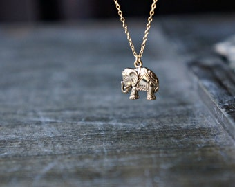 Gold Elephant Necklace / Detailed Italian Bronze Elephant Pendant on a Gold Filled Chain ... Good Luck Charm Necklace