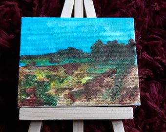 Mini canvas painting one of a kind landscape.