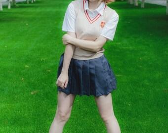 Misaka Mikoto cosplay costume. School uniform. Toaru Kagaku no Railgun.