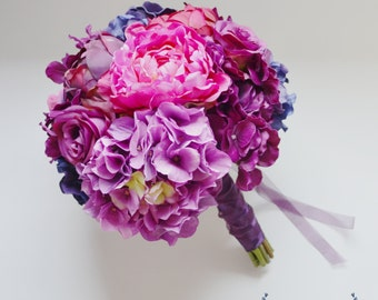 Purple Violet and Fuchsia Wedding Bouquet with Hydrangea, Peonies, and Roses. Purple Bouquet, Wedding Bouquet, Silk Bouquet