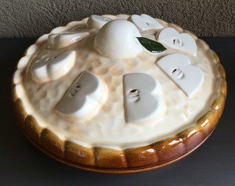 Apple Pie Dish w/ Cover Lid Brown Vintage Stoneware Plate ~ #A1956