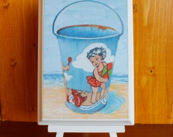 Vintage Sand Pail bucket girl on beach with beach ball original painting 4 x 6 by jojofineart.com