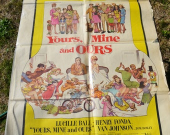 """Vintage 1968 """"Yours Mine & Ours"""" Numbered Movie Poster"""