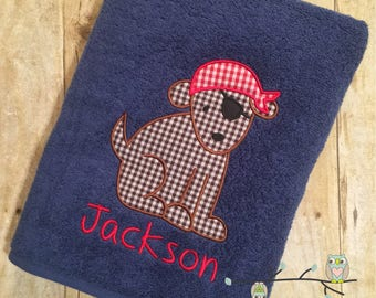 Monogrammed Beach Towel - Pirate Puppy Applique Bath Towel - Personalized