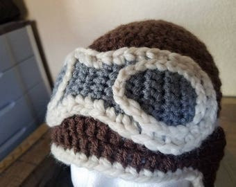 Handmade Crochet Aviator / Pilot / Flight Hat w/Goggles / Unique Birthday Gift / Amelia Earhart Hat / Charles Lindbergh Hat