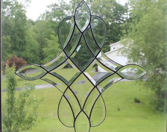 "Large Bevel Cluster Window Hanging, Bevel Cluster Stained Glass Sun-catcher, Hand Crafted, 18.5"" X 20"" Made in the USA"