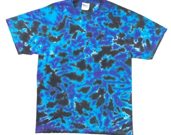 Tie Dye T-Shirt - Crinkle Blue Black Plum