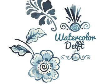 Watercolor Delft Pottery Vintage Dutch Clipart flowers clip art digital clipart flower Traditional Folk Patterns Dutchies