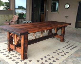 Farmhouse Table Hand Made With Of Reclaimed Douglas Fir Barn Wood