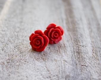 Red Rose Earrings.  Rose cabochon. Boho rose earrings. Gift for your loved one.