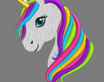 embroidery designs 3 sizes unicorn horse Rainbow  Pony  pes hus jef