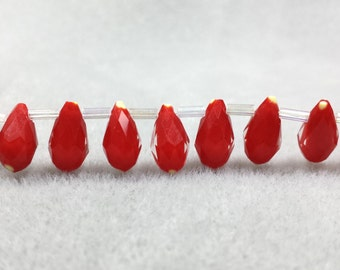 50pcs Teardrop Beads, Red Beads, Faceted Teardrop Beads, Glass Beads, Glass Teardrop, Faceted Beads, Faceted Crystal, Top Drilled Beads