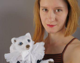 Arctic FOX PUPPET - handmade puppet / felt puppet / animal puppet / fox / needle felted puppet / hand puppet / velvet / dress / neck ruff