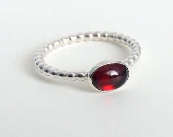 Oval Garnet Ring Sterling Silver Red Gemstone Solitaire January Birthstone Ring