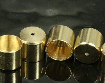 brass ends cap, 50 pcs 10X11mm 10mm inner cord  tip ends, ribbon end, 1661 ENC10