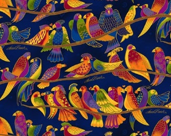 Wild Ones Flannel by Laurel Burch Clothworks Cotton Fabric Y2330-31 Royal Blue Birds Free shipping U.S.