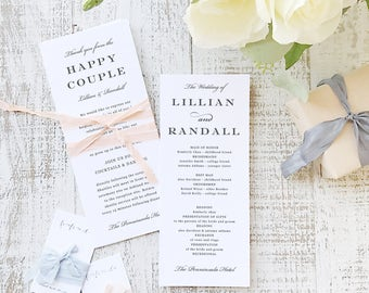 Printable Wedding Program Template | INSTANT DOWNLOAD | Formal Script | Flat Tea Length | Editable Colors | Mac or PC | Word & Pages