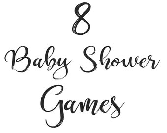 Custom 8 Baby Shower Games SET