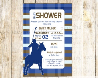 Polo Invitation - Kids Birthday Baby Boy Shower Printable Personalized Party Invite Brown Navy Blue