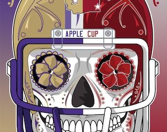 Washington Apple Cup Football Sugar Skull 11x14 Print