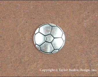 Soccer Ball Jewelry Scrapbooking Charm Finding in Antique Silver Plate (item 1523 AS) - 6 Pieces
