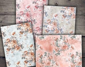 Vintage Floral Backgrounds - Digital Collage Sheet Printables