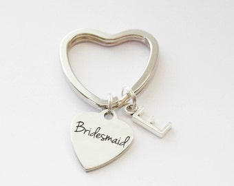 Bridesmaid Keychain, Bridesmaid Gift, Bridesmaid Jewelry, Monogram Bridesmaid Gift, BFF Keychain, Best Friend Keychain, Initial Keychain