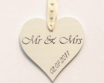 "Hand-Painted Wood Heart Wedding Gift ""Mr and Mrs with Personalized Date."""