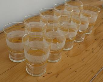 Ten Vintage French Tumbler Glasses , Yellow and White