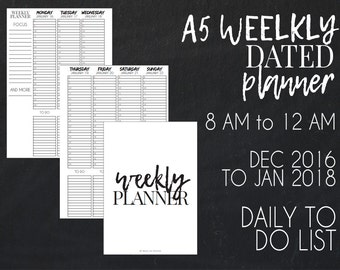 A5  2017 weekly dated planner printable, week on two pages, vertical layout + free planner cover