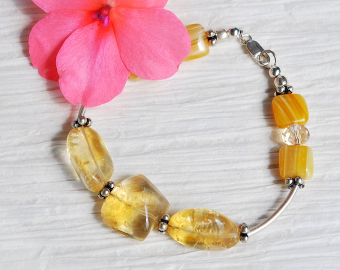 Yellow Citrine stone bracelet with Bali Sterling Silver beads, simple, gemstone bracelet
