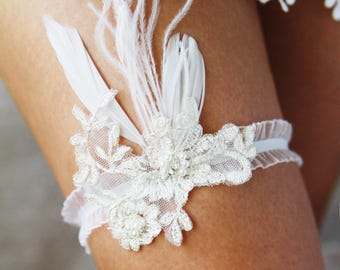 Bridal Garter Wedding Garter Belt - Luxury Ostrich Feather Garter Belt - Ivory Lace Garter - Prom Garter Wedding Gift Bridal Shower Gift