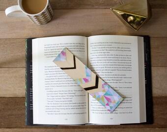 Bookmark, Wood Bookmark, Chevron Bookmark, Mixed Media Bookmark, Custom Bookmark, Gift for Her, Teacher Gift, Back to School