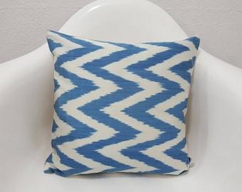 Blue Chevron Ikat Cushions Cover Silk Zig Zag Pillows Case Decor