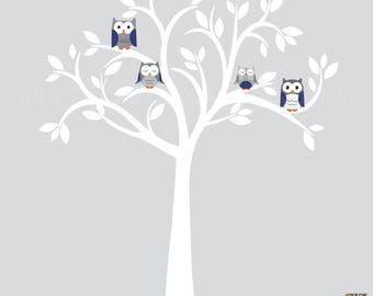 White Tree Wall Decal, Owl wall decal, Owl tree wall sticker, Navy Blue Owl wall Decor, Hint of Navy Design with White Tree