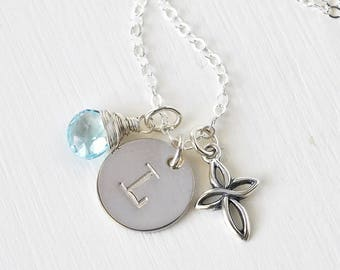 Personalized Cross Birthstone Initial Necklace Sterling Silver 16 Inch / Personalized Confirmation Gifts / Christian Jewelry