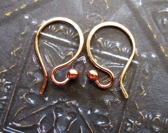 Bright Red Brass Ball Tipped Ear Wires - 1 pair - 20 gauge