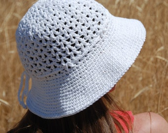 women summer hat, mother's day gift, summer spring hat for women, crochet summer hat, white cotton beach hat, hat with brim, hat with bow