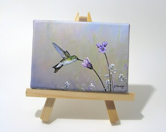 2.5x3.5 Hummingbird, Garden Flowers, Wild Flower Mini Painting by J. Mandrick