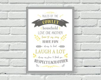 Personalised Family wall print, Rules of the House quote, yellow and grey wall print, wall art, kitchen, living, wall decor, home, custom,