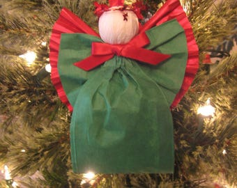Red and Green Christmas Angel / Tree Ornament / Green Angel / Paper Ribbon Angel / Tree Decor / Red Green / Teacher Gift / Angel Lover Gift