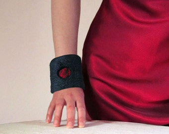 nuno felted cuff - bracelet -moonlight shadow-